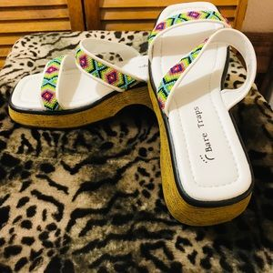 Bare Traps white sandals with beads size 8B